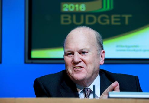 ALLOCATING REVENUES: Minister for Finance Michael Noonan announces the 2016 budgetbut. Frank McGrath