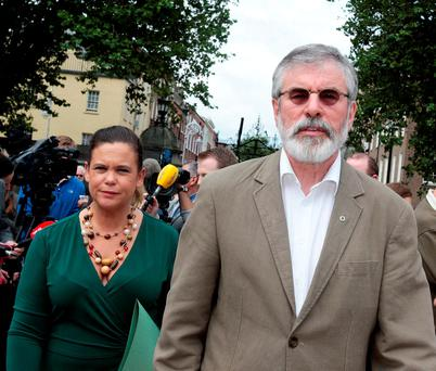 PASSING THE TEST: Mary Lou McDonald and Gerry Adams. The younger members of Sinn Fein are still required to venerate people with a terrible past, like Nazi collaborator Sean Russell. Photo: Tom Burke