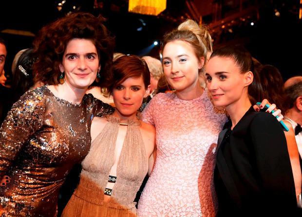 Actresses Gaby Hoffmann, Kate Mara, Saoirse Ronan and Rooney Mara (L to R) pose after the show at the 22nd Screen Actors Guild Awards in Los Angeles, California January 30, 2016. REUTERS/Lucy Nicholson