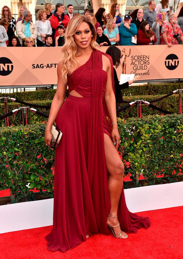 Laverne Cox arrives at the 22nd annual Screen Actors Guild Awards at the Shrine Auditorium & Expo Hall on Saturday, Jan. 30, 2016, in Los Angeles. (Photo by Jordan Strauss/Invision/AP)