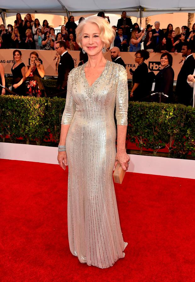 Helen Mirren arrives at the 22nd annual Screen Actors Guild Awards at the Shrine Auditorium & Expo Hall on Saturday, Jan. 30, 2016, in Los Angeles. (Photo by Jordan Strauss/Invision/AP)
