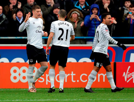 Ross Barkley of Everton celebrates after he scores his sides third goal during the Emirates FA Cup Fourth Round match against Carlisle United . (Photo by Clint Hughes/Getty Images)