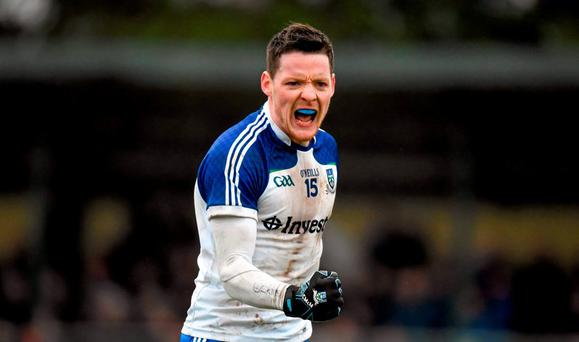 Conor McManus, Monaghan, celebrates a late score. Allianz Football League, Division 1, Round 1, Roscommon v Monaghan, Kiltoom, Roscommon. Picture credit: Stephen McCarthy / SPORTSFILE