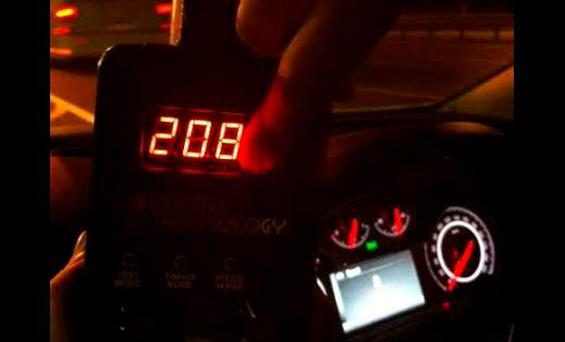Gardai recorded a vehicle travelling at 208km/h last night