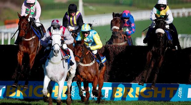 Ruby Walsh riding Djakadam (L) before falling in The BetBright Trial Steeple Chase at Cheltenham racecourse