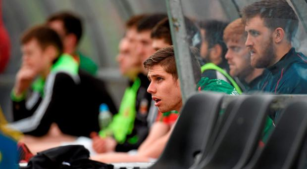 Lee Keegan, Mayo, looks on after leaving the pitch after picking up an injury. Allianz Football League, Division 1, Round 1, Cork v Mayo. Páirc Ui Rinn, Cork. Picture credit: Diarmuid Greene / SPORTSFILE