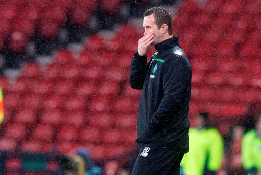 Celtic manager Ronny Deila appears dejected during the Utilita Energy Scottish League Cup, semi-final match at Hampden Park
