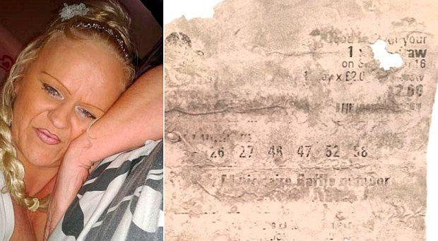 Susanne Hinte and the ticket she claimed had won £33million on the Lotto