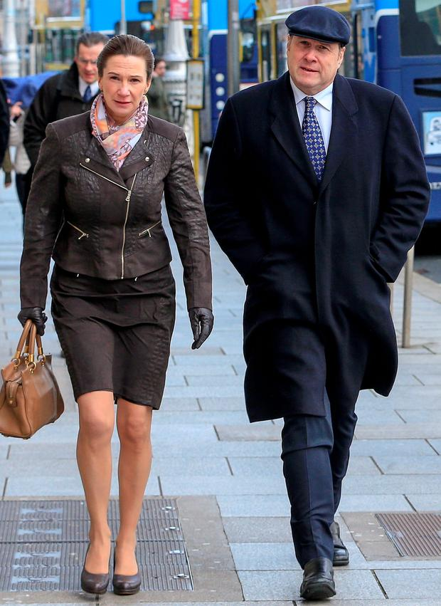 Deirdre Yates (52), of Enniscorthy, Co. Wexford, with her husband, former Fine Gael minister, Ivan Yates, at court