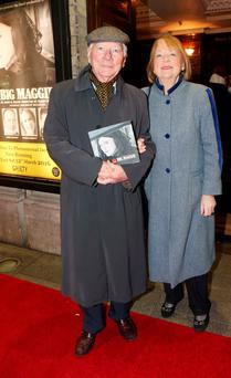 Gay Byrne and his wife Kathleen arrive at the Opening of Big Maggie in the Gaiety, which runs until the 12th of March. Photo: Leon Farrell/Photocall Ireland.
