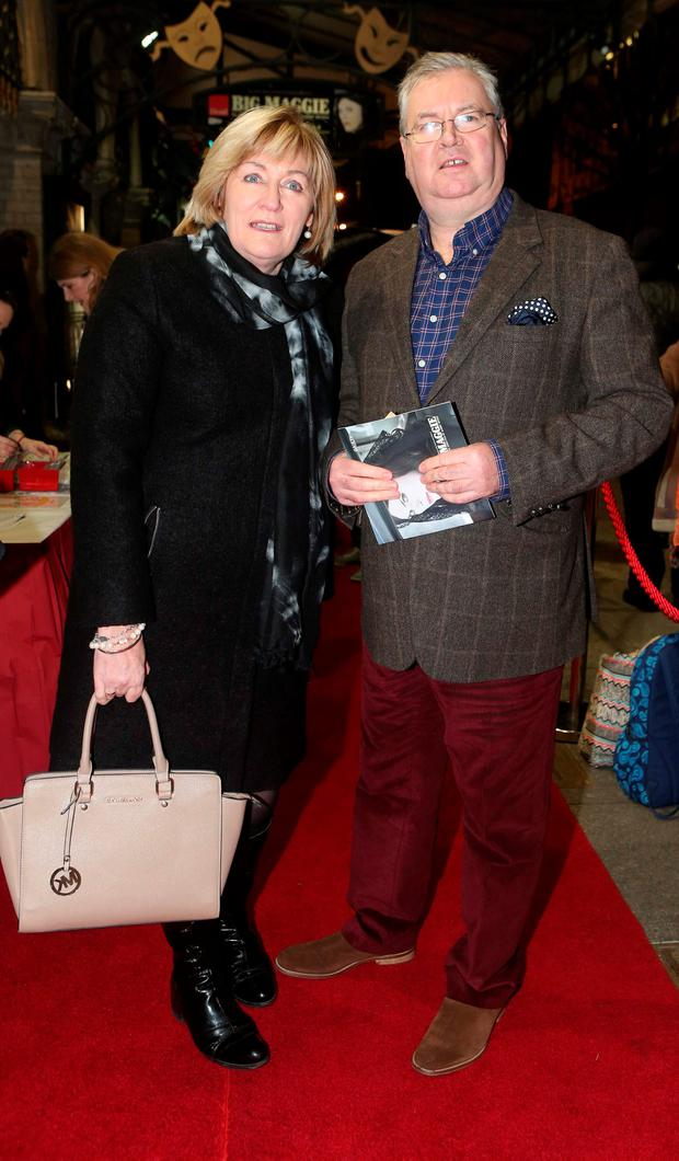 Joe Duffy and his wife June arrive at the Opening of Big Maggie in the Gaiety, which runs until the 12th of March. Photo: Leon Farrell/Photocall Ireland.