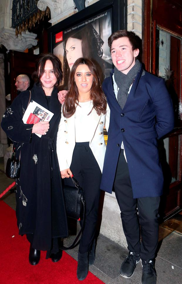 Morah Ryan with her daughter Lottie and son Elliott arrive at the Opening of Big Maggie in the Gaiety, which runs until the 12th of March. Photo: Leon Farrell/Photocall Ireland.