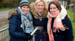 Dressed for the weather at the road trotting races at Skibbereen Co Cork were Christine Murphy, Jennie Brickley and Caroline Collins. Photo: Denis Boyle.