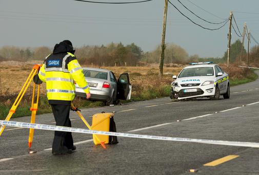 The scene of the crash in Ardrahan, Co Galway, where a man in his sixties was killed and two gardaí were injured. Photo: Andrew Downes
