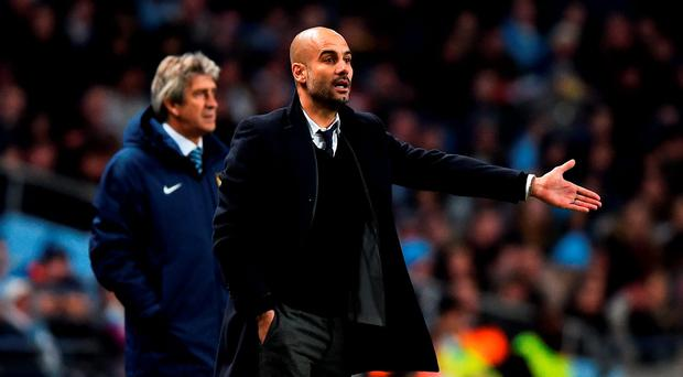 Pep Guardiola at the Etihad in 2014 during Bayern Munich's game with Manchester City. Photo: Getty