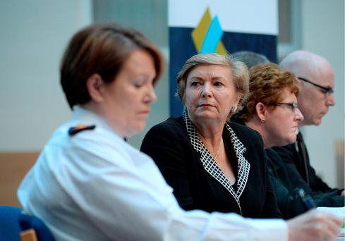 Garda Commissioner Noirin O'Sullivan, left, and Justice Minister Frances Fitzgerald, launch the Second National Strategy on Domestic, Sexual and Gender-based Violence 2016-2021 earleir this month. Photo: Caroline Quinn