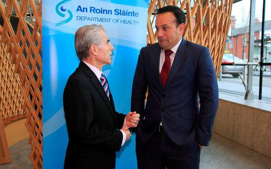 Liam Doran, head of the INMO, with Health Minister Leo Varadkar during the launch of a €2m pilot scheme for nurse staffing at the Mater Hospital yesterday. Photo: Gareth Chaney
