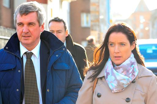 Garda John Leahy leaving court with Garda Orla Keenan, a witness in the case. Photo: Courtpix