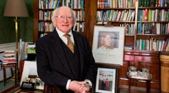 President Michael D Higgins at the launch of 'On the Importance of Ethics' at Áras an Uachtaráin. Photo: Mark Condren