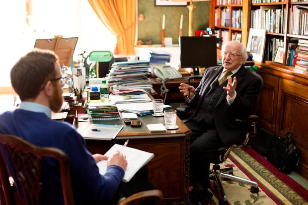 President Michael D Higgins who launched 'On the importance of Ethics' A report on the President's Ethics Initiative at Aras an Uachtarain with Irish Independent Environment Editor, Paul Melia. Pic:Mark Condren