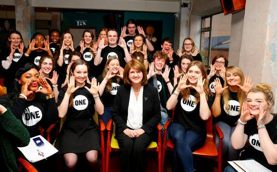 Members of ONE with Tánaiste Joan Burton at the launch of the 2016 Irish Youth Ambassador Programme in Dublin yesterday. Photo: Marc O'Sullivan
