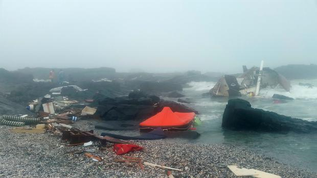 Wreckage of the yacht which ran aground on rocks off the coast of South Africa claiming the life of a 49-year-old Irish woman. Photo: National Sea Rescue Institute