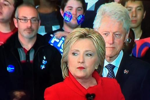 #Stickerkid stole the show during Ms Clinton's victory speech