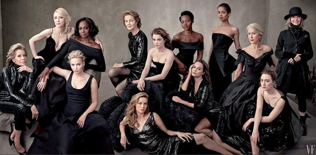 Annie Leibowitz's shot for Vanity Fair featuring: (back row) Cate Blanchett, Viola Davis, Charlotte Rampling, Rachel Weisz, Lupita Nyong'o, Guga Mbatha Raw, Helen Mirren, Diane Keaton. (Front row): Jane Fonda, Jennifer Lawrence, Brie Larson, Alicia Vikander and Saoirse Ronan