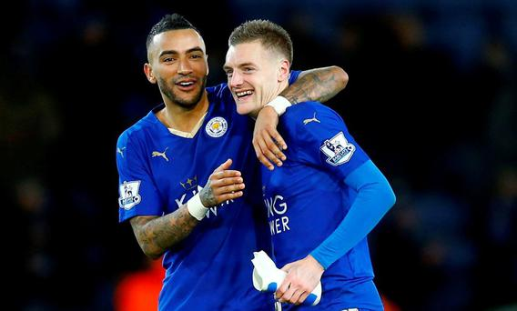 Leicester City's Jamie Vardy celebrates with Danny Simpson after the game Reuters / Darren Staples