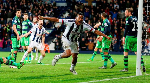 West Bromwich Albion's Salomon Rondon celebrates scoring their equaliser during the Barclays Premier League match at The Hawthorns