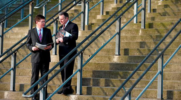 The GAA's director of finance, Tom Ryan, and Peter McKenna discussing the figures in Croke Park yesterday (SPORTSFILE)