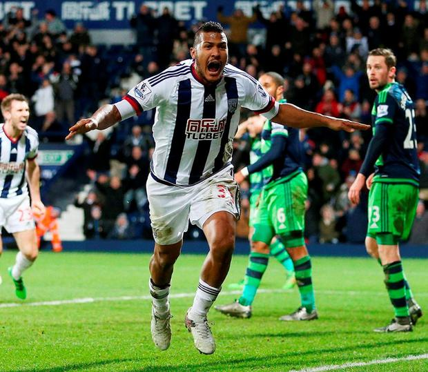 West Bromwich Albion's Salomon Rondon celebrates scoring their first goal. Photo: David Davies/PA Wire