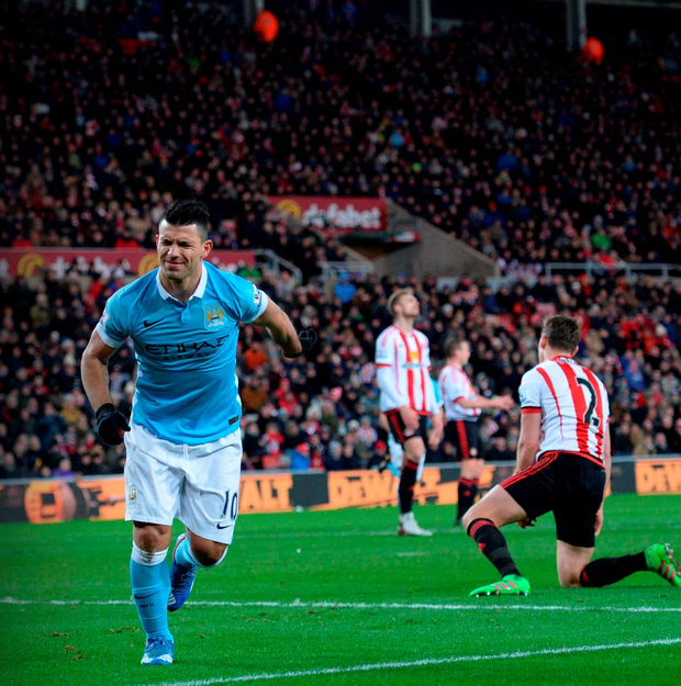 Manchester City's Sergio Aguero grimaces as he attempts to celebrate after hurting himself scoring the opening goal against Sunderland at the Stadium of Light in Sunderland (Getty Images)