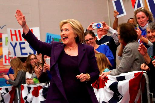 U.S. Democratic presidential candidate Hillary Clinton waves to attendees after arriving for a campaign rally at Winnacunnet High School in Hampton, New Hampshire February 2, 2016. REUTERS/Adrees Latif