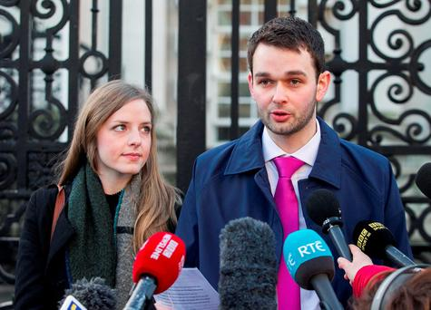 Daniel and Amy McArthur of Ashers Baking Company, talk to the media outside Belfast High Court as the Christian bakery owners who were found guilty of discriminating against a gay man are appealing against the court ruling to protect all family businesses with deeply held convictions. Photo: Liam McBurney/PA Wire