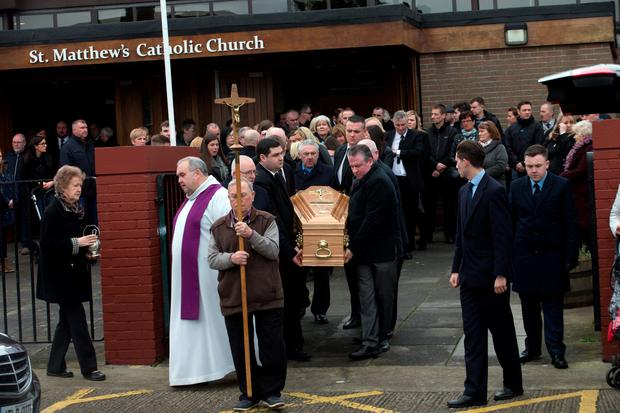 The coffin of Kenneth O'Brien is taken from the chuch of St. Matthew in Ballyfermot