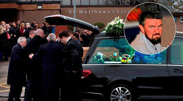 Mourners at the funeral of Kenneth O'Brien. Inset, Mr O'Brien