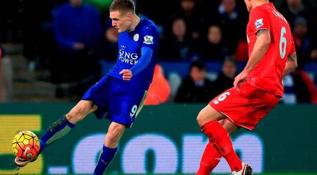 Leicester City's Jamie Vardy (left) scores his wonder goal