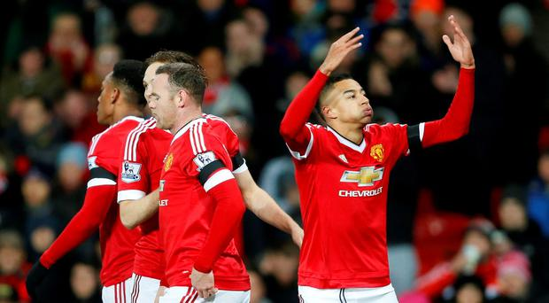 Jesse Lingard celebrates scoring the first goal for Manchester United Action Images via Reuters / Carl Recine