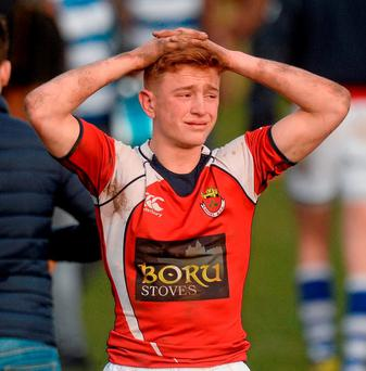 Rockwell College's Josh Pickering looking dejected after the game. Photo: Piaras Ó Mídheach / Sportsfile