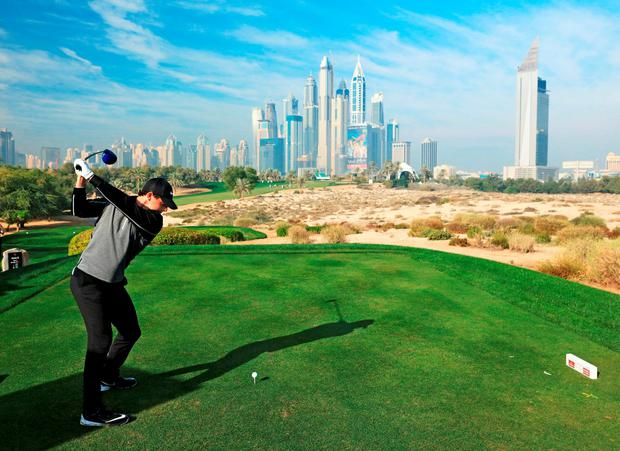 Rory McIlroy in action during the pro-am in Dubai (David Cannon/Getty Images)