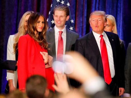 Republican US presidential candidate Donald Trump makes a face as he and his wife Melania and members of their family leave the stage at his caucus night rally in Des Moines, Iowa. Now Trump has accused Ted Cruz of fraud in the caucus. Photo: Reuters/Scott Morgan