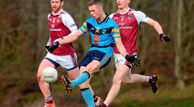 Paul Mannion opens UCD's scoring account against NUI Galway in the independent.ie Sigerson Cup match in Dangan (SPORTSFILE)