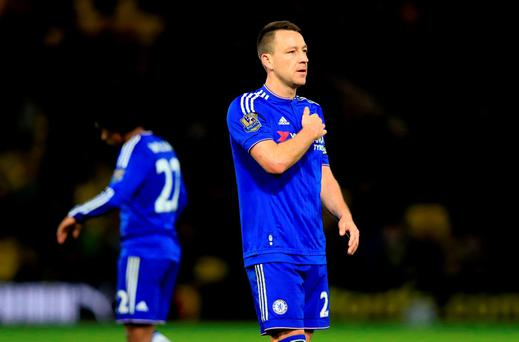 Chelsea's John Terry acknowledges the fans after the Barclays Premier League at Vicarage Road