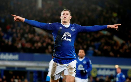 Ross Barkley celebrates scoring the third goal for Everton from the penalty spot Reuters / Phil Noble Livepic