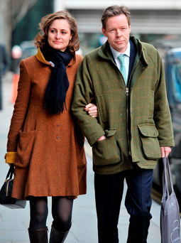 George Bingham, the only son of missing peer Lord Lucan, arriving at the High Court in London with wife Anne-Sofie Foghsgaard. Photo: Nick Ansell/PA Wire