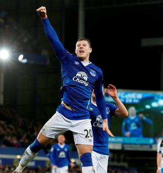 Ross Barkley celebrates scoring the second goal for Everton from the penalty spot Photo: Phil Noble / Reuters