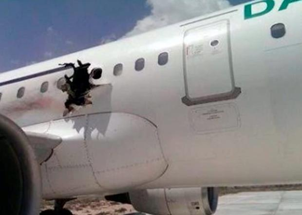 The gaping hole in the fuselage of the Airbus 321