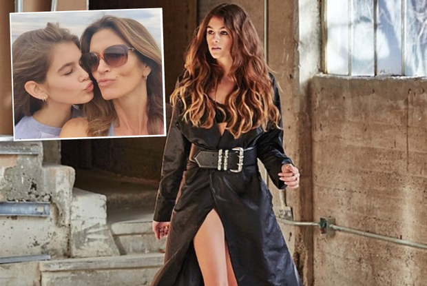 Kaia Gerber for Chrome Hearts, (inset) pictured with supermodel mother Cindy Crawford. Pictures: Instagram