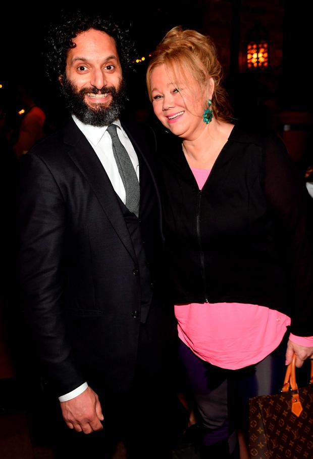 Jason Mantzoukas (L) and Caroline Rhea attend the after party for the New York premiere of